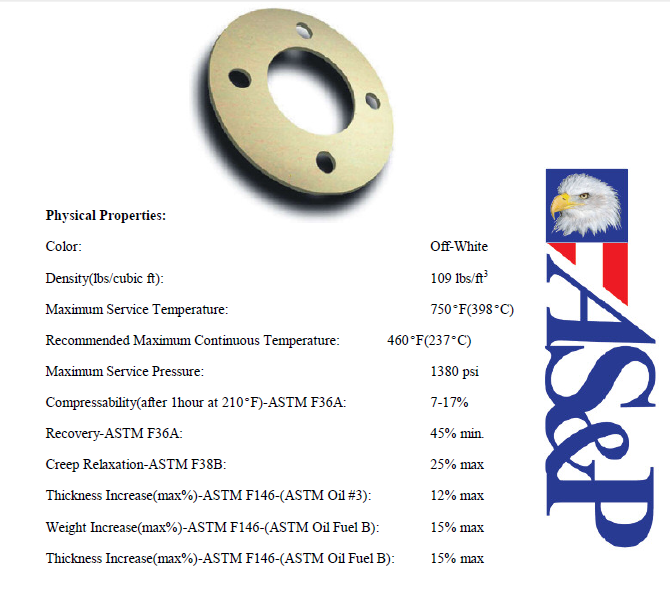 Non-Asbestos Gasket Materials features